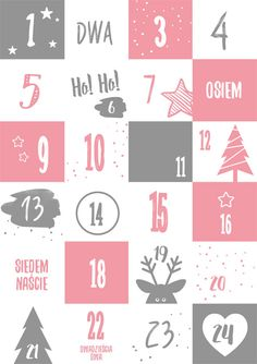 Kalendarz adwentowy - różowy Advent Calenders, Long Prom Gowns, Winter Christmas, Kids And Parenting, Hanging Out, Easy Crafts, Christmas Cards, Gifts, Classroom
