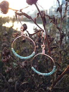 Rose Gold/Teal Beaded Hoop Earrings by amandalsteele on Etsy https://www.etsy.com/listing/219309020/rose-goldteal-beaded-hoop-earrings
