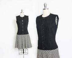 Vintage 1960s Dress  Black & White Wool Knit Houndstooth