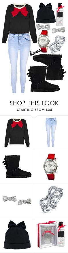 """""""Bow"""" by deedee-pekarik ❤ liked on Polyvore featuring Boutique Moschino, Glamorous, UGG, Bertha, Mimi So, Bling Jewelry, Federica Moretti, Victoria's Secret and bows"""