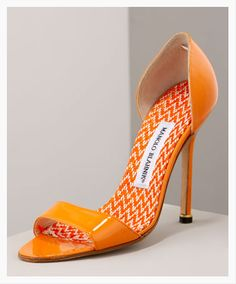 Pretty orange Manolos.   Oh I have to have!   @Ines Hegedus-Garcia I totally see you with these!