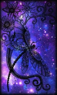 Dragonfly in space Dragonfly Quotes, Dragonfly Art, Dragonfly Tattoo, Purple Love, All Things Purple, Periwinkle, Graffiti Kunst, Wow Art, Beautiful Butterflies