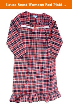 Laura Scott Womens Red Plaid Flannel Nightgown Night Gown Medium. This cozy red  plaid flannel a04dc5a5d