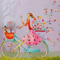 Happy Paintings, Beautiful Paintings, Happy Birthday Wishes Cards, Animated Love Images, Cycling Art, Marquis, Fairy Art, Graphic Design Posters, Whimsical Art