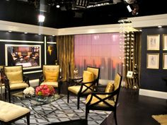 Decor inspiration - set design for E! Fashion Police. Love the chairs, table and rug!!