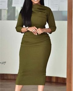 Mock Neck Ruched Design Long Sleeve Bodycon Dress - Just Shop Sequin Party Dress, Summer Work Outfits, Beautiful Gowns, Beautiful Ladies, Pattern Fashion, Formal, Sleeve Styles, High Waisted Skirt, Bodycon Dress