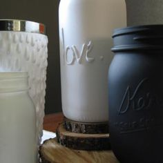 Lettered Mason Jar:   Here is a fabulous tip for repurposing mason jars. Write a word or design on the outside of your jar using puff paint or hot glue and then spray paint over your design to create a unique vase!