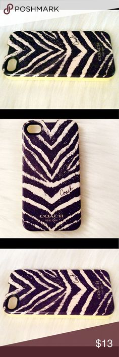 Coach iPhone 4S Case Coach iPhone 4S hard cover/case. Zebra pattern with lime green sides. Gently used, only minor wear (please see pics). Good condition. Coach Accessories Phone Cases