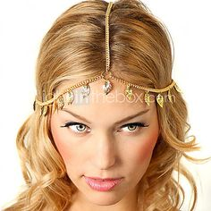 Bohemian Women's Leaf Drop Head Chain Jewelry Forehead Dance Headpiece Hair Band - USD $ 3.99