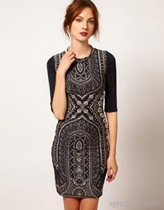 Warehouse | Warehouse Baroque Bodycon Dress on Sproducts — Share products with friends