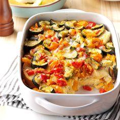 Roasted Vegetable Strata Recipe ---from Taste of Hom Vegetarian Breakfast Casserole, Breakfast Dishes, Breakfast Ideas, Breakfast Strata, Breakfast Muffins, Vegetable Dishes, Vegetable Recipes, Vegetarian Recipes, Cooking Recipes