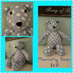 Don't you LOVE this handmade polka dot Memory Bear made by Michelle Black. Grow With Nancy, a FREE Facebook group for crafters & artisans shows off all special handmade designs.  #CraftyThursday #MemoryBear