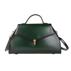 Green Leather Tote Shoulder Bag via Women's Fashion Bags. Click on the image to see more!