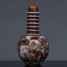 Chinês Talhada À Mão artesanal requintado Vidro Frasco De 3.27 Polegadas De Rapé