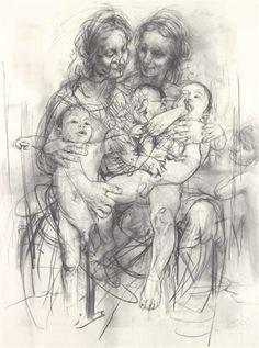 "ARTIST: Jenny Saville ~ ""Reproduction drawing IV"" 2010(after the Leonardo cartoon)"