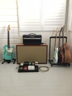 A place to share or ogle at fancy pictures of yours or others' guitars and related instruments. Home Music Rooms, Music Studio Room, Studio Setup, Guitar Room, Music Guitar, Cool Guitar, Guitar Amp, Music Aesthetic, Guitar Photos