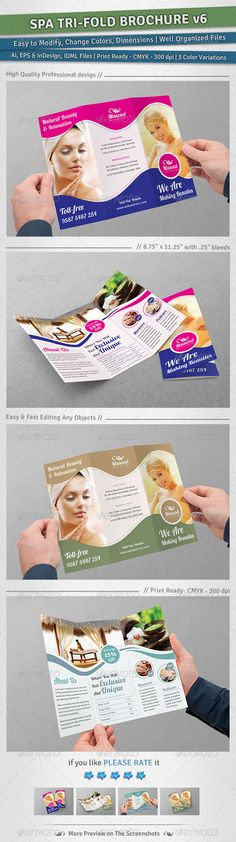 Spa TriFold Brochure   Volume 6 — Vector EPS #pedicure #relaxation • Available here → https://graphicriver.net/item/spa-trifold-brochure-volume-6/5297463?ref=pxcr