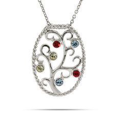 Personalize this Swarovski 6 Stone Family Tree Necklace! The oval shaped family tree pendant has 6 birthstones customized, around a twisted frame.