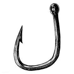 Fish Illustration, Illustrations, Fish On A Hook, Tattoo Fish, Hook Tattoos, Drawn Fish, Hard Nails, Hand Logo, Logo Ideas