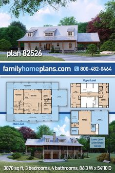 This charming farmhouse home plan gives a feel of simpler times with the uncomplicated roofline, charming dormers and large front porch. The stone based wood columns and white board and batten siding add to the over all visual appeal of this home and create the perfect welcoming atmosphere for friends and family who come to visit. Stepping inside you find yourself in the unique and open floor pan. The foyer is fully open to the spacious kitchen. Modern Farmhouse Plans, Farmhouse Homes, Farmhouse Design, Farmhouse Style, Safe Room, Family House Plans, Car Garage, Great Rooms, Interior And Exterior