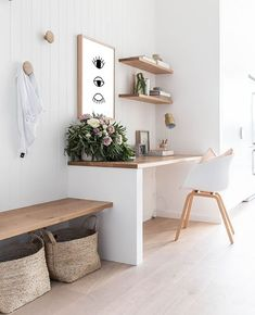 Hallway Office, Office Nook, Home Office Space, Home Office Design, Desk Nook, Home Office Shelves, Desk Space, Office Spaces, Modern Office Decor