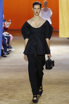 Black Scoop Top with Black Pants by Céline Spring 2016 Ready-to-Wear Fashion Show - Marte Mei van Haaster