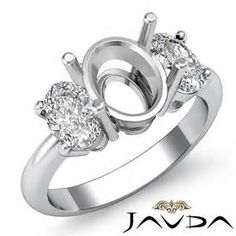 oval three stone ring semi mounts - yahoo Image Search Results