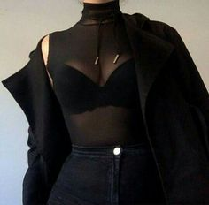 @benitathediva All black outfit with black jeans, black bra, black mesh top, black choker, and black outerwear coat.