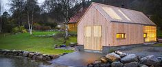 Oslo-based studios Koreo Arkitekter and Kolab Arkitekter transformed an old wooden boathouse into a stunning summerhouse called 'Naust V'. Gable Roof, House By The Sea, Restoration, Shed, Outdoor Structures, Boathouse, Traditional, Cabin Ideas, The Originals