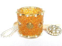 Windlicht orange mit Schmuck und Perlen Tisch Schmuck von LonasART