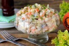 Рыбный салат с отварной горбушей