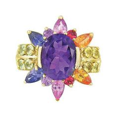 Rainbow Sapphire & Amethyst Color Explosion Ring 14K Yellow Gold (5.63ct tw)