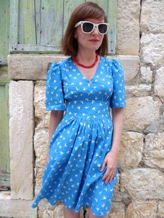 Tilly and the Buttons: Blue Swallows Dress--Cap sleeves?? Simplicity 0331