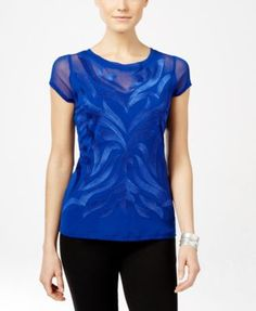 INC International Concepts Short-Sleeve Embroidered Blouse, Only at Macy's | macys.com