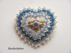 blue beaded heart pin