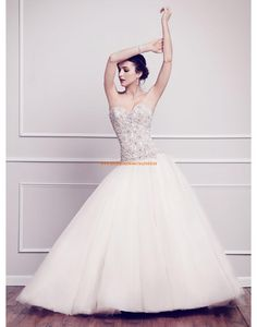 Kenneth Winston A-line Romantische Luxuriöse Brautkleider aus Softnetz mit Perlenstickerei