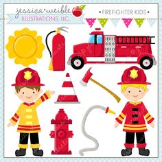 Firefighter Kids Cute Digital Clipart  by JWIllustrations on Etsy, $5.00