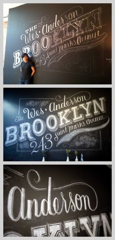 The Wes Anderson #Brooklyn #chalk art by Dana #Tanamachi - major #talent #typography #nyc