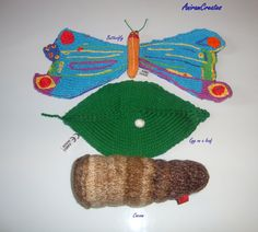 Hand knitted Very Hungry Caterpillar soft toy by AniramCreates, £32.00