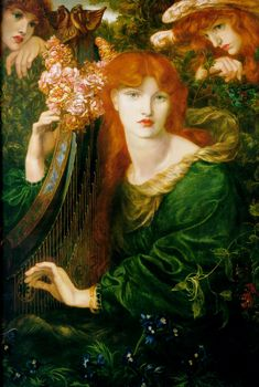 La Ghirlandata by Dante Gabriel Rossetti. Painted in 1873, it belongs to the strongly aesthetic, sensual phase in Rossetti's later career. Between 1871-74 Rossetti produced several paintings of women playing musical instruments.