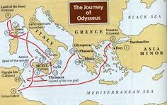 The Odyssey map of Odysseus travels. Very nice blog with lots of art from the high school students.