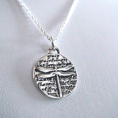 Inspirational Dragonfly Charm Necklace - 950 Sterling Silver