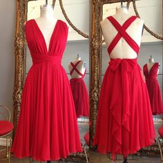 Red bridesmaid dresses, chiffon bridesmaid dresses, convertible bridesmaid dresses, short bridesmaid dresses, cheap bridesmaid dresses, NDS302  This dress could be custom made, there are no extra cost to do custom size and color.  Description of short bridesmaid dress 1, Material: chiffon, elast