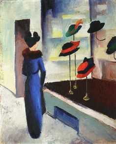August Macke (German, 1887-1914)  'Milliner's Shop', 1913