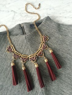 This fringe bib necklace is astand-out statement and so much more! Pinterest: @oliveandpiper   *Limited Quantity left