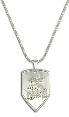Gargantilha folheada a prata c/ a medalha de São Jorge (Salve Jorge) Código: G1120 P