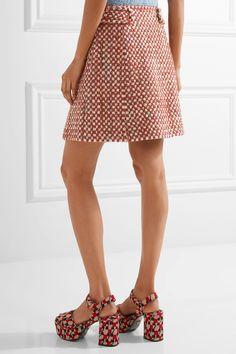 Prada   Wool and cotton-blend tweed mini skirt   NET-A-PORTER.COM