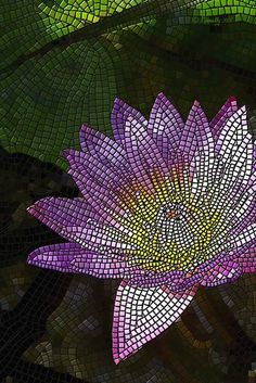 """mosaic Water Lily vertical"" by Edward Kinnally: <P><br><big><b><i>'Water Lily'</i></b></big><br>Tucked in behind some tall reeds, the interplay of light and shadows across the flower petals, contrasted by the deep colors of the lily pads and the..."