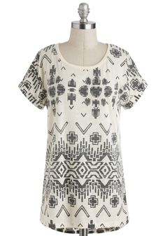 Doodle Your Best Top - Jersey, Sheer, Black, Casual, Short Sleeves, Tan / Cream, Print, Mid-length