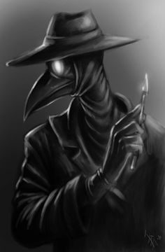 It's a plague doctor, quite simply, holding a scalpel. Syvertsen / oomizuao 2011 the doctor is in Black Plague Doctor, Plague Doctor Mask, Plague Dr, Plauge Doctor, Doctor Stuff, Doctor Drawing, Crow Mask, Medical Wallpaper, Dark Art Drawings